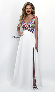Embroidered Ivory V-Neck Prom Dress