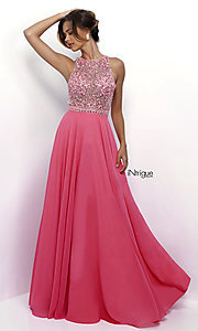 Long Pink Chiffon Open Back Prom Dress