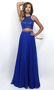 Royal Blue Two Piece Open Back Prom Dress