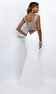 Image of white v-neck sheer-back long prom dress. Style: BL-IN-300 Front Image