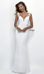 Image of white v-neck sheer-back long prom dress. Style: BL-IN-300 Back Image