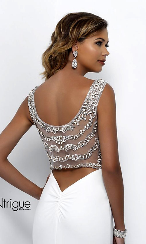 Image of white v-neck sheer-back long prom dress. Style: BL-IN-300 Detail Image 1