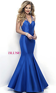 Long Royal Blue V-Neck Prom Dress by Blush