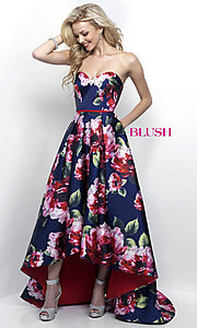 Long High Low Print Prom Dress by Blush