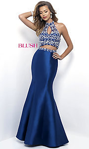 Navy Blue Two Piece Halter Prom Dress
