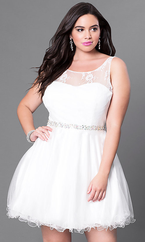 Image of plus-size homecoming party dress with v-back. Style: DQ-9465P Detail Image 1