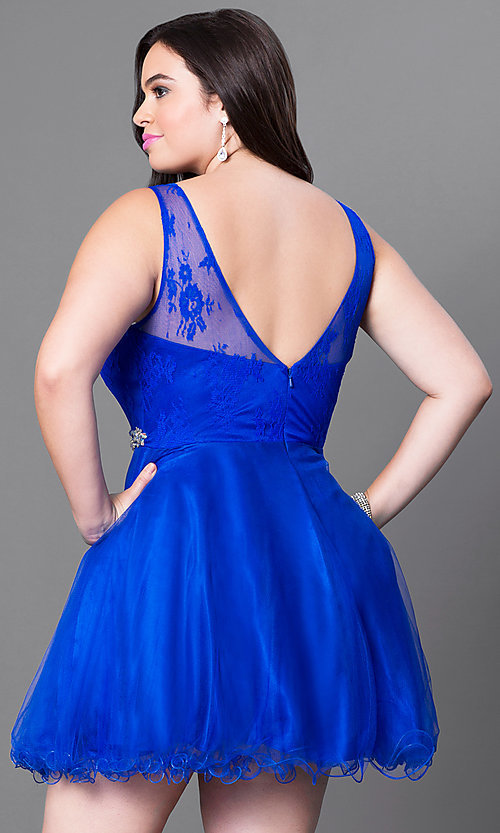Image of plus-size homecoming party dress with v-back. Style: DQ-9465P Back Image