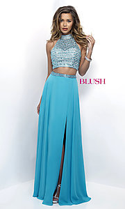 Open Back Two Piece Prom Dress by Blush