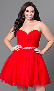 Ruched Bodice Plus Size Strapless Sweetheart Dress