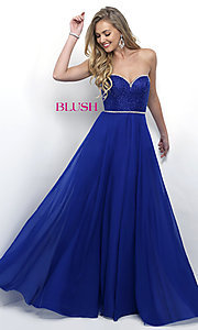 Chiffon Strapless Sweetheart Long Prom Dress