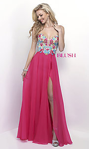 Long Pink Sweetheart Embroidered Prom Dress