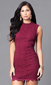 Wine Red Short Lace Holiday Party Sheath Dress