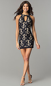 Image of lace mini homecoming party dress with keyhole cut out. Style: SS-JA27643H439 Detail Image 1