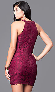 Image of lace mini homecoming party dress with keyhole cut out. Style: SS-JA27643H439 Back Image