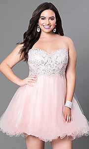 Short Plus-Size Embellished Strapless Corset Dress