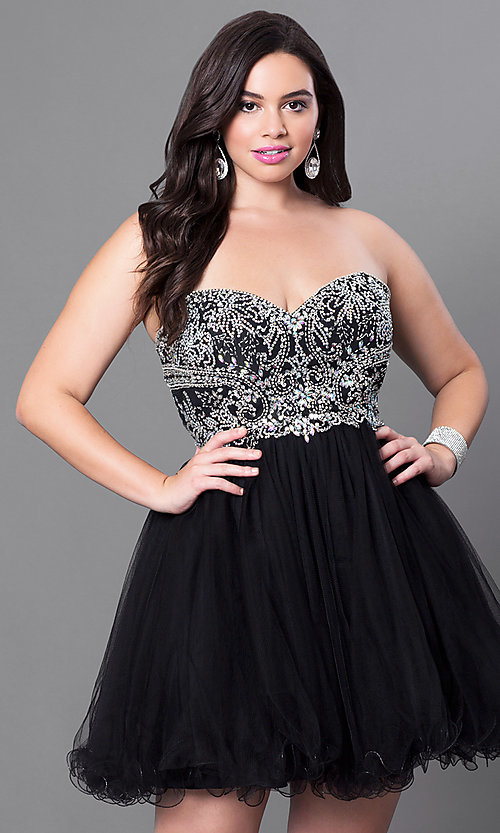 Image of short plus-size embellished strapless corset dress. Style: DQ-9536P Front Image