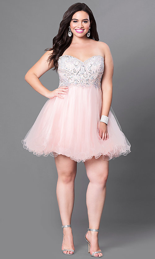 Image of short plus-size embellished strapless corset dress. Style: DQ-9536P Detail Image 2