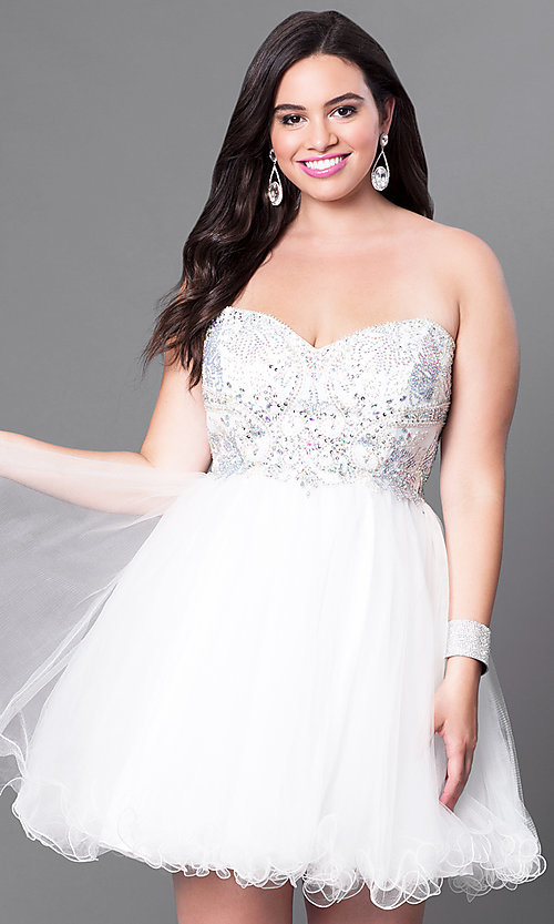 Image of short plus-size embellished strapless corset dress. Style: DQ-9536P Detail Image 3