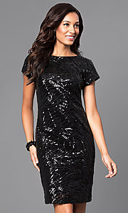 Sequin Short Sleeve Knee Length Party Dress