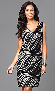 Sequin V-Neck Sleeveless Shift Party Dress