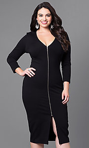 Midi Length Plus Size 3/4 Sleeve Front Zipper Party Dress