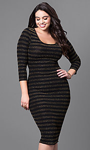 Midi Length Semi-Casual Striped 3/4 Sleeve Dress