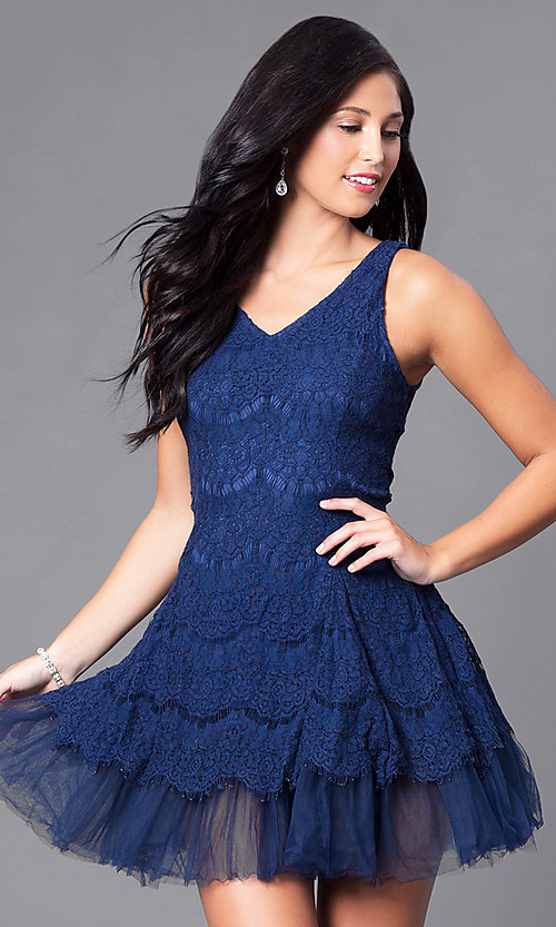 Image of short lace sleeveless v-neck party dress with tulle. Style: CL-DI252 Detail Image 2