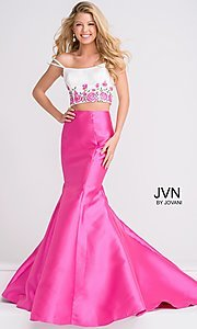 Long Off the Shoulder Two-Piece Prom Dress