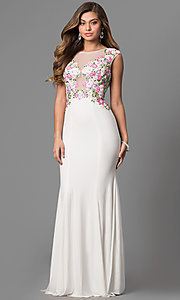 Image of long white JVN by Jovani prom dress with embroidery. Style: JO-JVN-JVN41547 Front Image