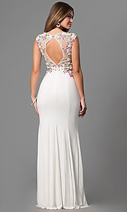 Image of long white JVN by Jovani prom dress with embroidery. Style: JO-JVN-JVN41547 Back Image
