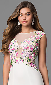 Image of long white JVN by Jovani prom dress with embroidery. Style: JO-JVN-JVN41547 Detail Image 1