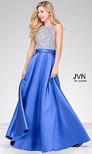 Sleeveless Long A-Line High Neck Prom Dress