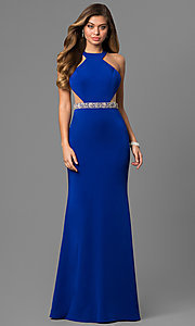 Long High Neck Prom Dress with Sheer Cut Outs