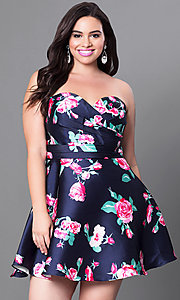 Strapless Plus Size Short Floral Print Homecoming Dress