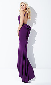 Image of open-back prom dress with ruffled bustle and train. Style: JO-JVN-JVN21899 Detail Image 2