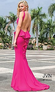 Image of open-back prom dress with ruffled bustle and train. Style: JO-JVN-JVN21899 Detail Image 3