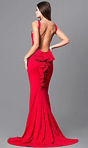 Image of open-back prom dress with ruffled bustle and train. Style: JO-JVN-JVN21899 Back Image