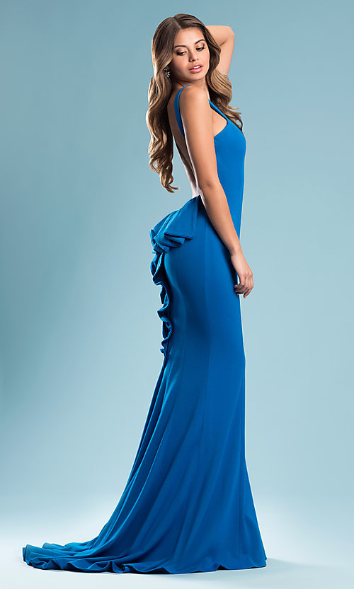 Image of open-back prom dress with ruffled bustle and train. Style: JO-JVN-JVN21899 Detail Image 1