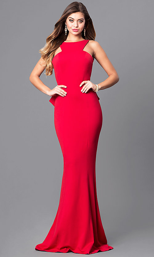 Image of open-back prom dress with ruffled bustle and train. Style: JO-JVN-JVN21899 Front Image