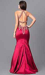 Image of mermaid-style embroidered long open-back prom dress. Style: JO-JVN-JVN41685 Back Image