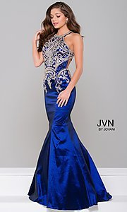 Image of mermaid-style embroidered long open-back prom dress. Style: JO-JVN-JVN41685 Detail Image 2