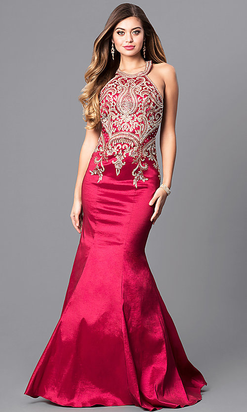 Image of mermaid-style embroidered long open-back prom dress. Style: JO-JVN-JVN41685 Front Image