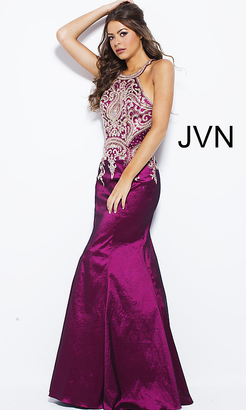 Image of mermaid-style embroidered long open-back prom dress. Style: JO-JVN-JVN41685 Detail Image 3