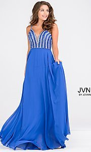 Long V-Neck JVN by Jovani Prom Dress