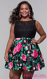 Image of plus-size short floral-print lace-bodice party dress. Style: DQ-9517P Front Image
