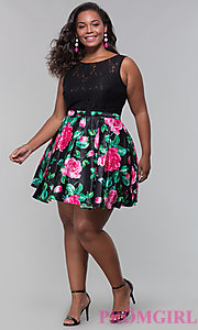 Image of plus-size short floral-print lace-bodice party dress. Style: DQ-9517P Detail Image 3