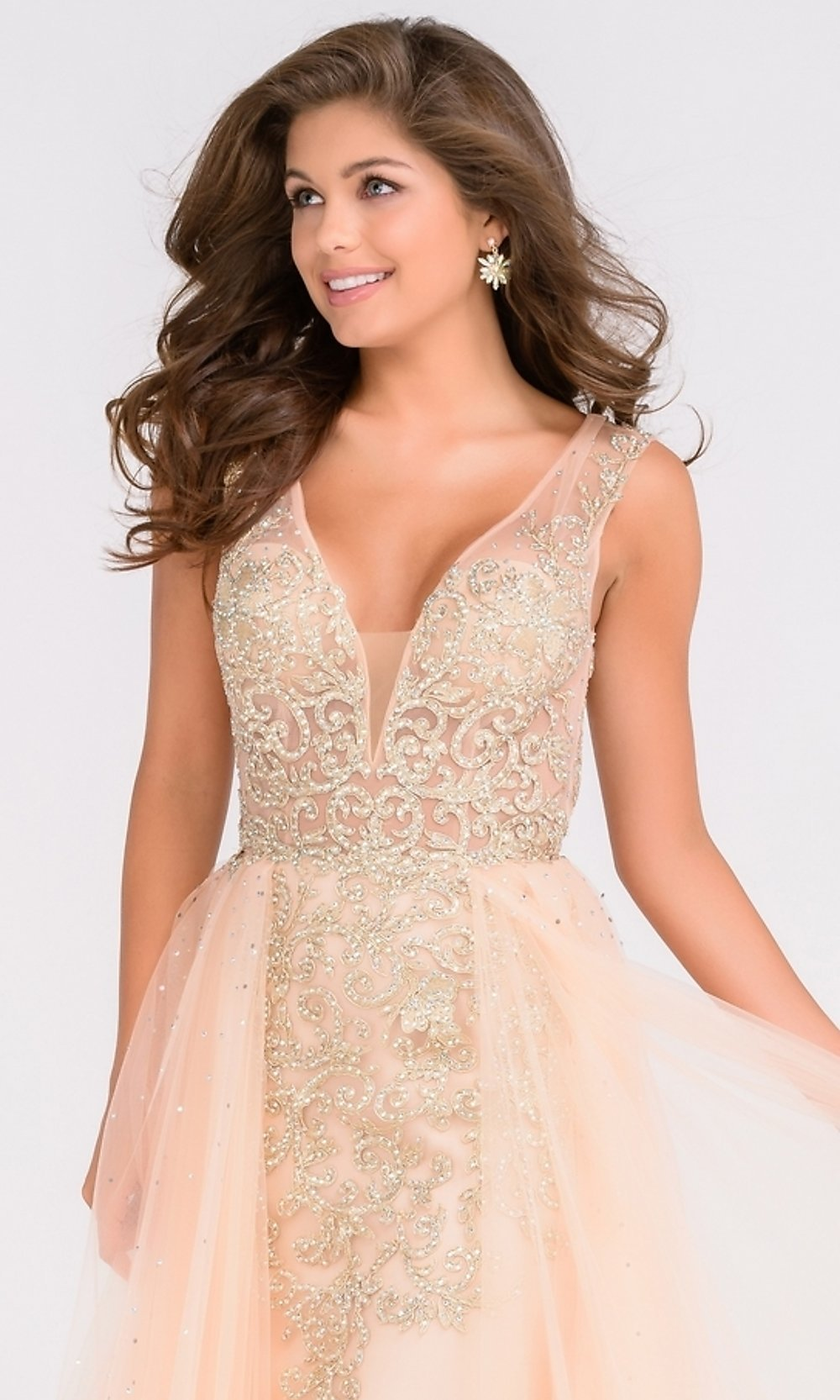 7fd96266bd0 V-Neck Open Back Prom Dress with an Overlay