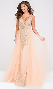 V-Neck Open Back Prom Dress with an Overlay