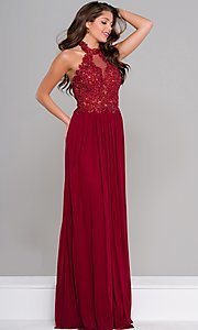 Lace Applique Long Open Back Halter Prom Dress