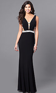 V-Neck Open Back Long Prom Dress with Cut Outs